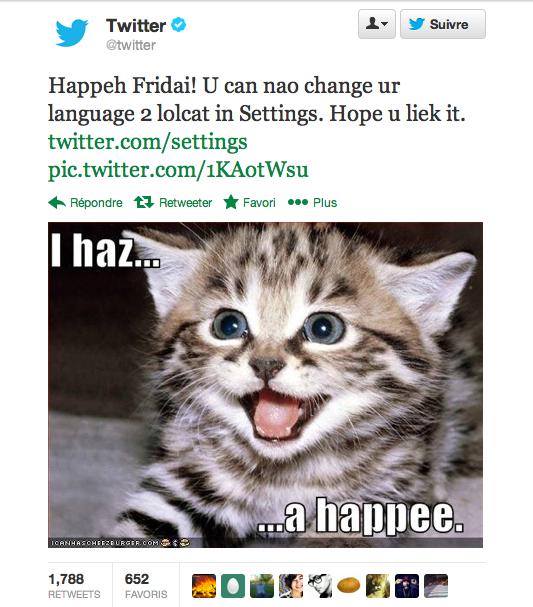 Twitter paramètré en LOLcat