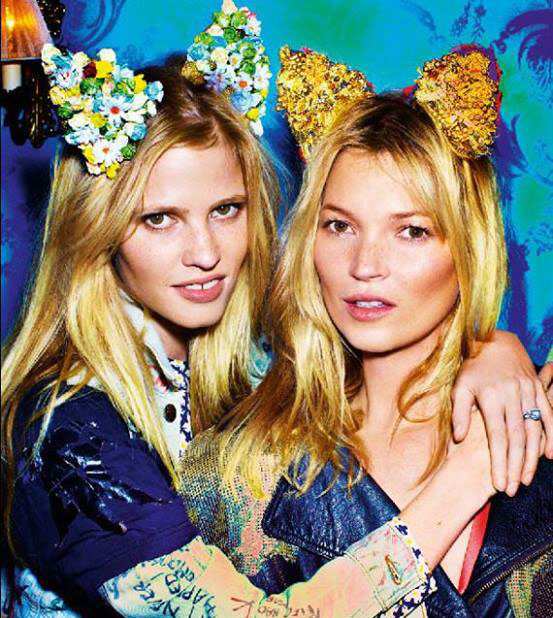 Kate Moss & Lara Stone in cat headbands