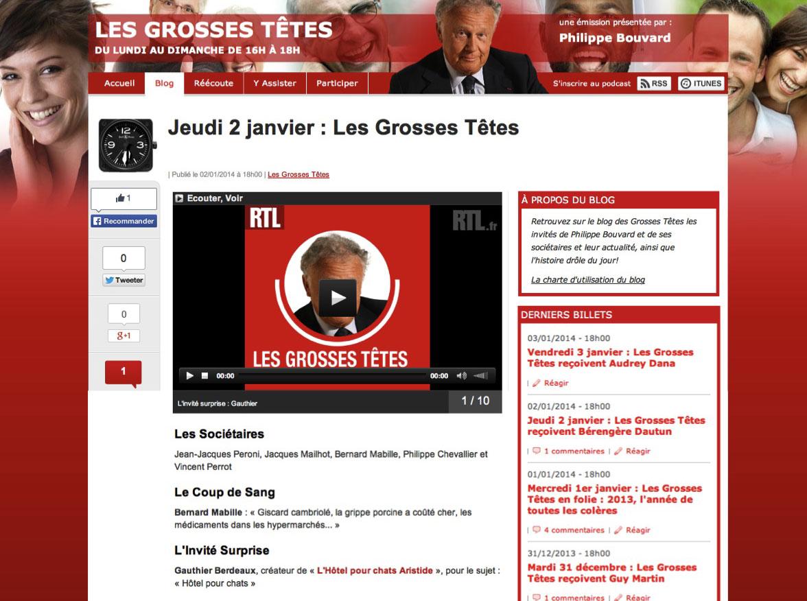 """ARISTIDE invité surprise des """"Grosses Têtes"""" de Philippe Bouvard"""